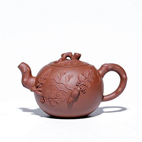 Kungfu Porcelain Lid Teas Teacups Sets Purple Flowers Hand-ore Clear Cement Teapot Goods Grapes Maker Tea Maker LEBAO (Color : Red)