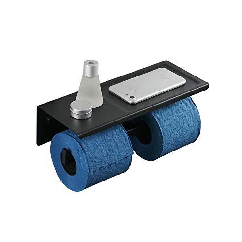 Kelelife Toilettenpapierhalter Schwarz Doppel WC Papierhalter mit Ablage, Edelstahl, Wand Montage