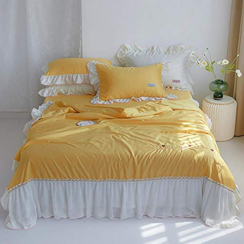 XNSY Light Quilt The air conditioner is quilted in a thin section, washable single double-yellow_150*200cm