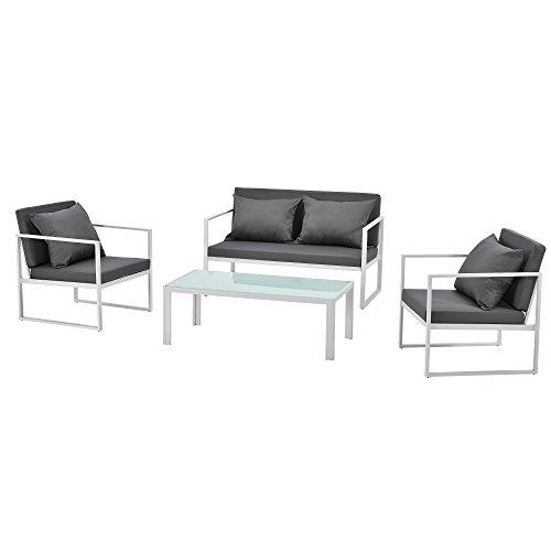 casa.pro] Salon de Jardin Ensemble de Jardin Table Basse avec Canapé et Chaises Extérieures Métal Verre Polyester Blanc