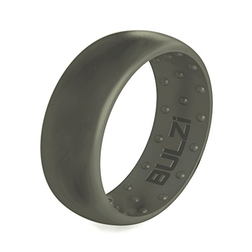 BULZi Wedding Bands, USA Lifetime Replacement, Massaging Comfort Fit Silicone Ring with Airflow, Men and Women Rings Breathable Comfortable Work Safety (Sage, Size 12 - (8mm Width Band))