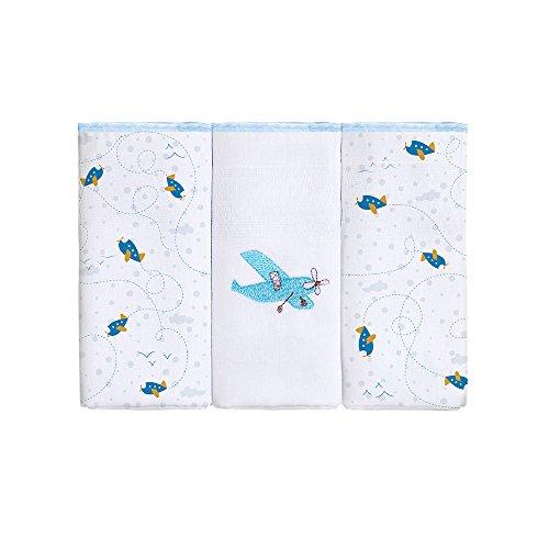 Papi Textil Fralda Zinha Bordado com Estampado, Azul, 63 cmx 63cm, Pacote de 3