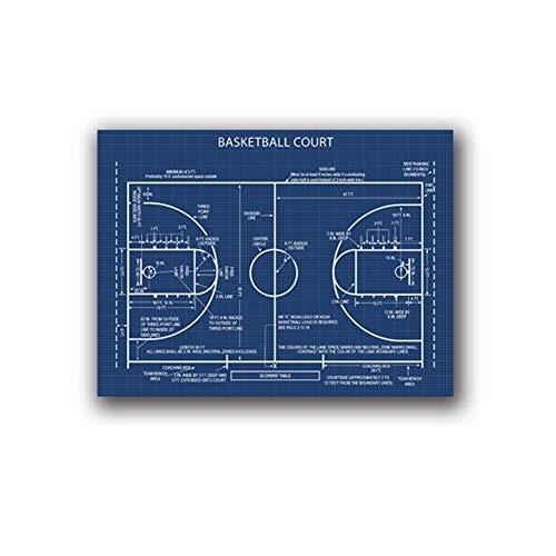 Basketballplatz Poster Leinwand Kunstdrucke, Sport Basketball Leinwand Gemälde Retro WandbildRoom Art Decor -60x80cm No Frame
