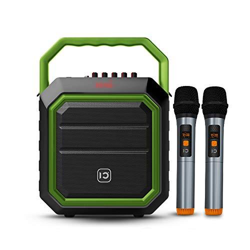 SHIDU Pa System 30W Bluetooth Pa Lautsprecher mit zwei drahtlosen Mikrofonen Wiederaufladbarer Party-Lautsprecher für den Außenbereich Soundsystem mit FM-Radio/USB/SD-Lesegerät für Karaoke-Live
