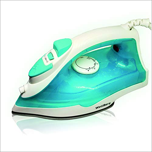 Wellberg 1300 W Power Thermostatic Controller Electric steam Iron, Sky Blue