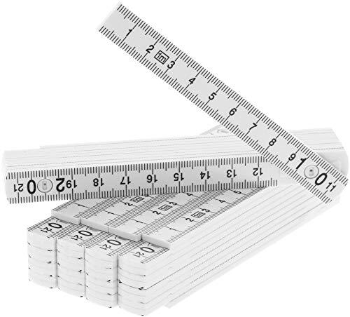 com-four® 5X Mini-Zollstock aus Kunststoff, 1 Meter Gliedermaßstab mit 10 Glieder, metrisch und in weiß (05 Stück - 1m weiß)