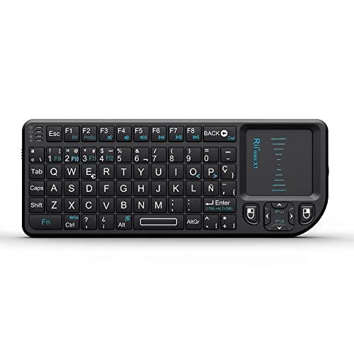 Rii Mini X1 teclado inalámbrico con ratón táctil - compatible con Smart TV, Mini PC Android, PlayStation, Xbox, HTPC, PC, Raspberry Pi