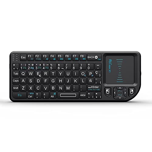 Rii Mini X1 teclado inalámbrico con ratón táctil - compatible con Smart TV, Mini PC Android, PlayStation, Xbox, HTPC, PC,...