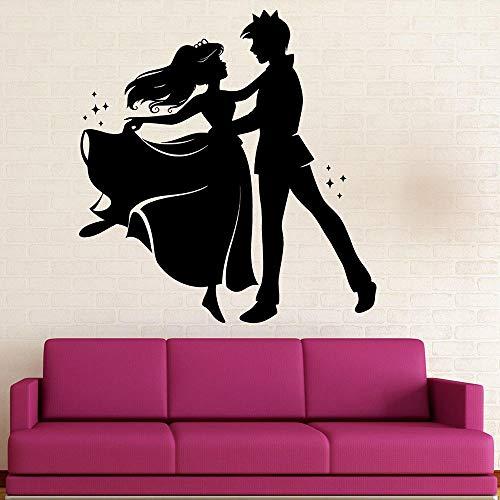 Dibujos animados de vinilo etiqueta calcomanía príncipe princesa cuento danza tatuajes de pared para la habitación de los niños decoración del cuarto de niños mural extraíble-Los 57X60CM
