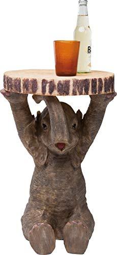 Kare Design Beistelltisch Animal Elefant Ø35cm, kleiner, runder Couchtisch, Holzoptik, Tierfigur als ausgefallener Wohnzimmertisch, (H/B/T) 53,5x36x35cm