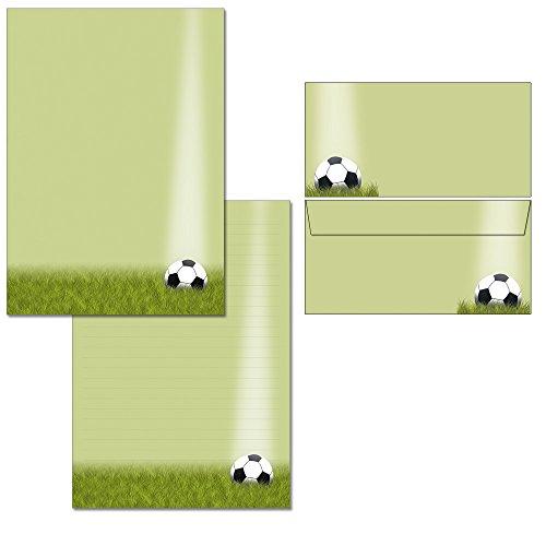 Fußball - Schreibblock DIN A4 + Briefumschläge DIN lang (1 Briefblock + 20 Kuverts mit Mappe)
