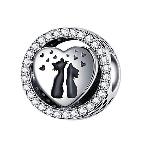 Encanto de gato ,Abalorio de plata de ley 925 para pulseras Pandora, compatible con pulseras...