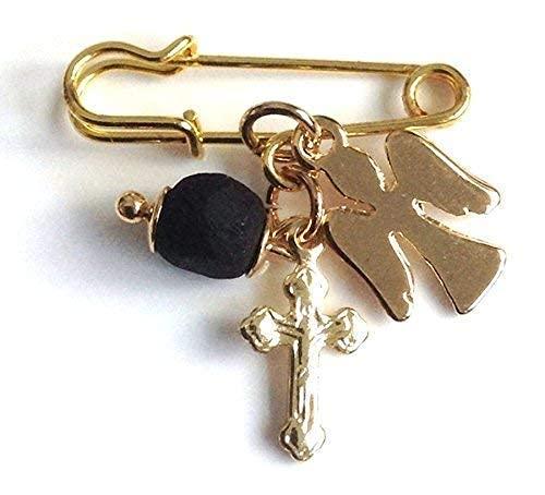 Genuine Azabache Guardian Angel Cross Pin Brooch Mal de Ojo