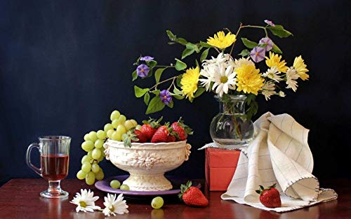 GAGALAM Puzzel Für Erwachsene 1000 Teile Gänseblümchen-Trauben-Erdbeerwein-Kunst Die Beste Wahl Für Geschenke Und Dekompression