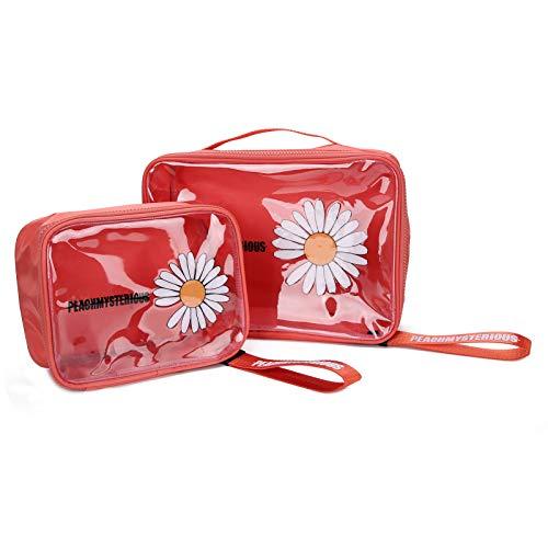 2 pièces voyage maquillage Train cas organisateur Portable artiste sac de rangement sac cosmétique pour femmes pour cosmétiques maquillage pinceaux bijoux de toilette(32 * 25 * 5cm-red)