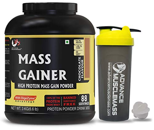 Advance MuscleMass Mass Gainer with Enzyme Blend | 7.15 G Protein | 23.46 G Carbs | Lab tested | Made from Whey Protein only | Raw Whey from USA | With Shaker | Chocolate Flavour | 3 Kg / 6.6 lb