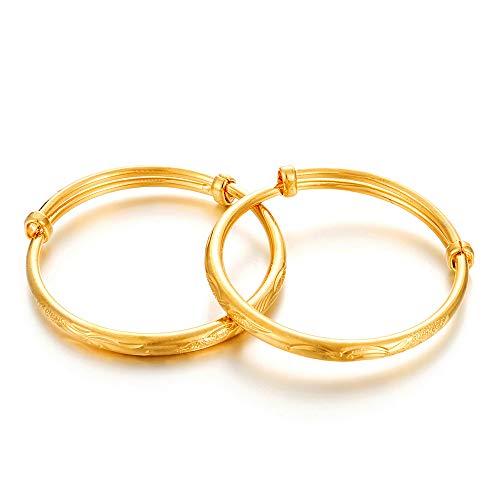 Ethlyn 2pcs/lot 18K Gold Plated Kids Baby Expandable Adjustable Charm Bangles &Bracelets
