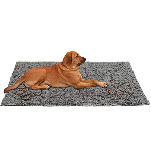 PUPTECK Doormat for Dog Extra Large- Super Absorbent Non Skid Microfiber Pet Door Runner Mat, Grey, 60in x 30in