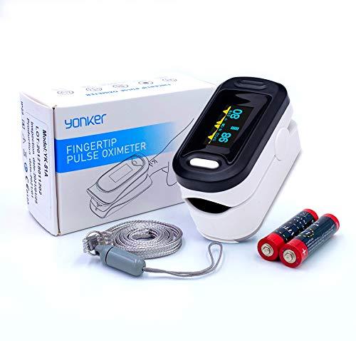 Medinet Yonker Pulsioxímetro de dedo | Onda pletismográfica | Frecuencia cardíaca y SpO2 | Pantalla OLED | Alarma de baja saturación con sonido |