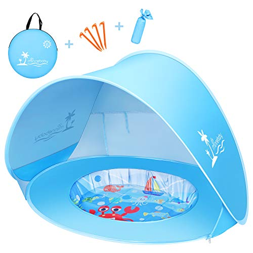 Baby Beach Tent with Pool, UPF50+ Pop Up Shade Tent for Infant, Baby Beach Sun Shade Pool with UV Protection, Blue
