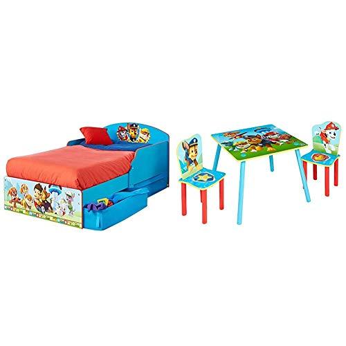 Paw Patrol - Kleinkinderbett mit Stauraum & Set aus Tisch und 2 Stühlen für Kinder, Holz, Rot/Blau, 63 x 63 x 52.5 cm