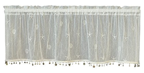 """Heritage Lace, White Sand Shell 45x15 Valance w/Trim, 45 by 15"""""""