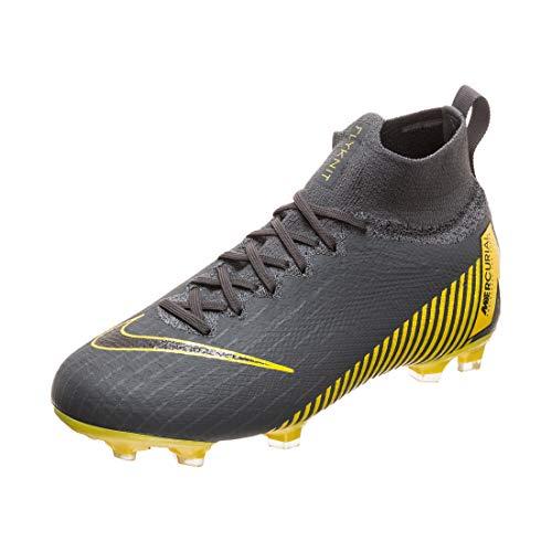 Nike Kids' Superfly 6 Elite FG Soccer Cleats, Grey/Yellow/Black, 5 Big Kid