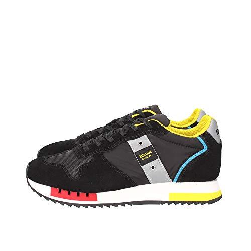 Blauer Queens01 Nera, Sneaker per Uomo con Lacci Realizzata in Morbido Camoscio Nero e Tessuto Cerato Tecnico Nero, Primavera Estate 2021