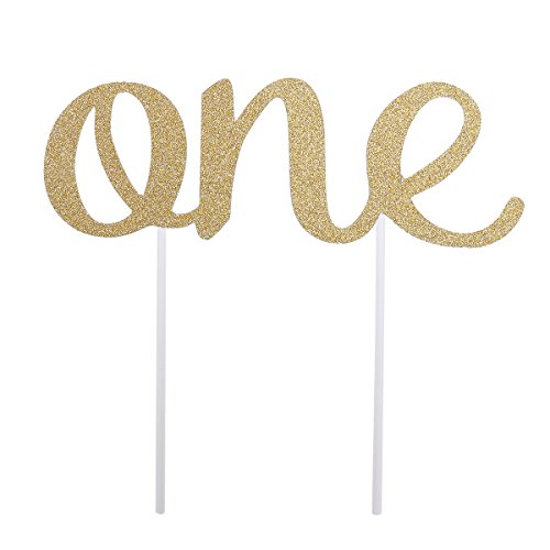 ROSENICE Cake Topper First Birthday One Birthday Cake Decorations Party Supplies (Golden)
