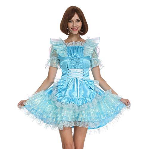 GOceBaby Frauen Sissy Dienstmädchen Schimmernd Hellblau Satin Gürtel Slim Fit Abschließbar Kleid Crossdress (3XL)