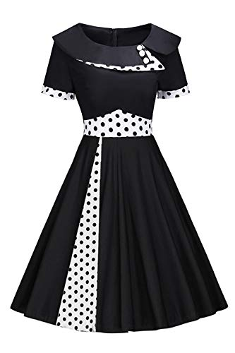 Damen 60 Jahre Kleid Rockabilly Audrey Hepburn Kleid Polka Dots Knielang XXL