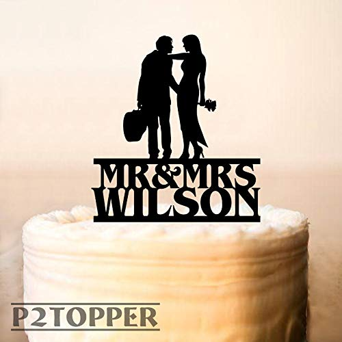 Wedding Cake Topper Silhouette Man And Wife With Acoustic Guitar Guitar Player Cake Topper Music Wedding Cake Topper Cake Decoration