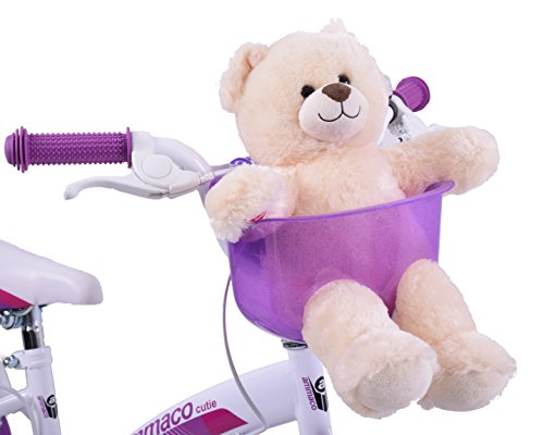 Ammaco Kids Childs Girls Boys Purple Front Teddy Dolly Bike Basket Carrier Bicycle Seat