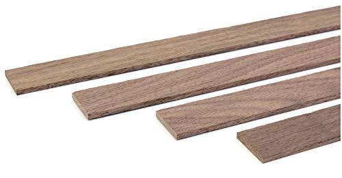 wodewa houten lijst wandlijst notenhout 1m afsluitlijst hout 30x4mm sierlijst voor wandbekleding plafond vloer afdekking DIY knutselen Gestructureerd natuur. bruin