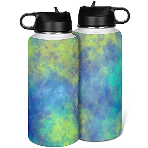 Tie Dye - Borraccia termica in acciaio inox, con coperchio, con cannuccia, semplicità, per viaggi su strada, 1000 ml, colore: bianco