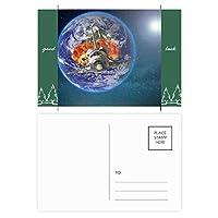 カラフルな惑星地球の宇宙船 グッドラック・ポストカードセットのカードを郵送側20個