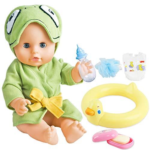 deAO Mi Primera Muñeca Bebé Conjunto del Baño Set Incluye Muñeca de...