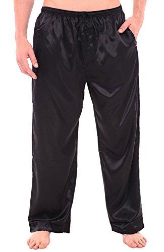 Alexander Del Rossa Men's Satin Pajama Pants, Long Pj Bottoms, 3XL Black (A0757BLK3X)