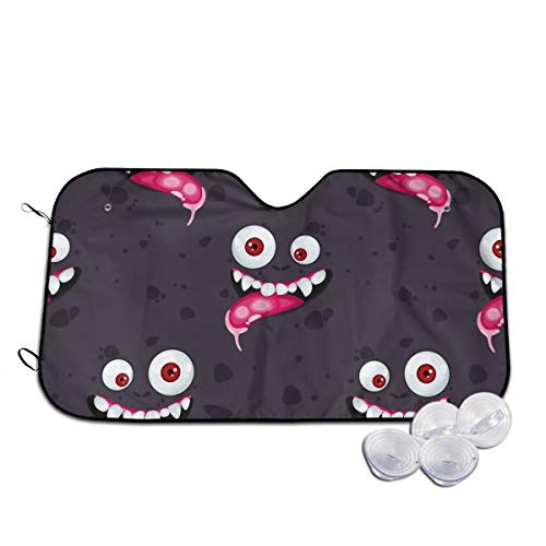 Halloween Creepy Spooky Alien Ugly Angry Face Eyes Cute Themed Interior Windshield Sun Shade Cover Summer Car Windows Visor Kit Ornament Decor Outdoor Vehicle Accessories Sunshade Auto For Women Men