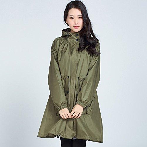 QFF Regenmantel Weibliche Erwachsene Lovely Auf Fuß wasserdichte Windbreaker Long Abschnitt Ultra-Light Poncho Thin Fashion (Farbe : Army Green)