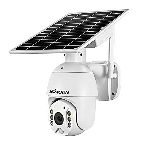 KKmoon 1080P Cámara Solar con Placa Inalámbrico, Admite Detección de Movimiento PIR, Audio bidireccional, Acceso Remoto, Visualización Panorámica de 355 °, Visión Nocturna, IP66 Resistente al Agua