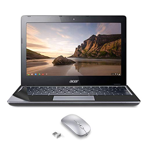 Used Well Condition Chromebook c720 Laptop with Computer Skin in A Cover 11.6-inch 2GB RAM 32GB eMMC (with USB Mouse- Touch pad Can't Work)- Celeron 2955U - Chrome OS