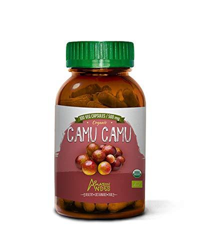 Amazon Andes - Organic camu camu Capsules - Powerful Vitamin C - 1000 mg per dose - antioxidant - Vegan - Non GMO - Gluten Free