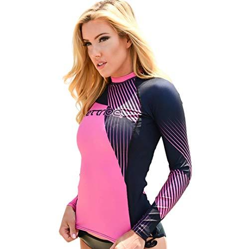Jettribe Ladies Cut Long Sleeve Rashguard Hyper Series   UV Protection Swim Shirt   PWC Racing Accessories (Pink, X-Large)
