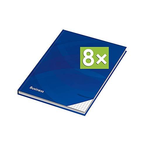 RNK - Verlag Notizbuch mit Hardcover-Einband, 96 Blatt, Notizheft, Tagebuch, Schreibbuch (8er Pack, A4 (Kariert))