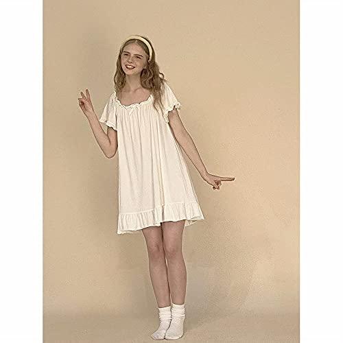 LAMCE Pijamas camisón de Verano para Mujer, Las Chicas Lindas Pueden Usar Ropa de casa Estilo Princesa afuera White-M