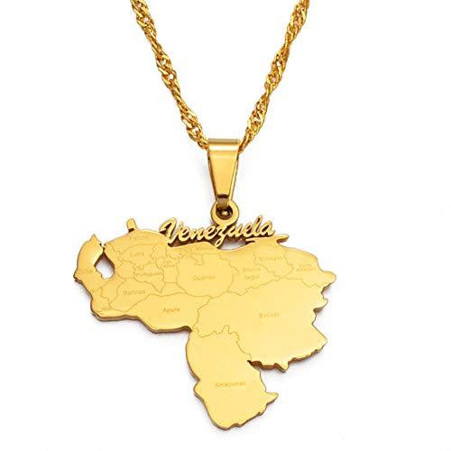 Joyería Colgante Mapa,Fashion Punk Unisex Collar Jewelry, Venezuela Map Gold/Silver Modern Patriotism Logo Map Charm Hip Hop Style Jewelry For Men's and Women's Birthday Jewelry Gifts,Golden,Chain