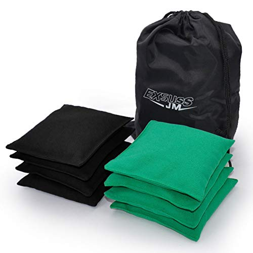 JMEXSUSS Weather Resistant Standard Corn Hole Bags, Set of 8 Regulation Cornhole Bags for Tossing Game,Corn Hole Beans Bags with Tote Bag (Black/Green)