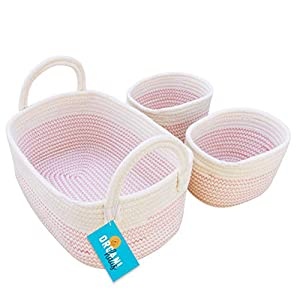 OrganiHaus Set of 3 Mini Woven Cotton Rope Nursery Baskets with Handles, Decorative Baby Room Cute Rustic Basket Storage Organizer Bin for Toys, Diapers, Crafts, Clothes, Laundry – Pink Stitches