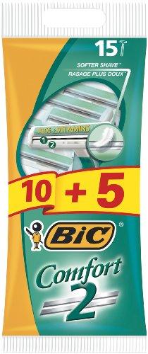 BIC Comfort 2 - Rasoio da uomo, 1 confezione da 10+5 pezzi